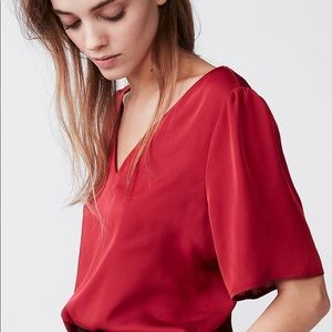 Express Red Satin V-Neck Blouse
